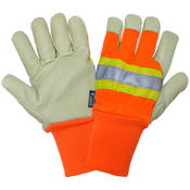High-Visibility Insulated Pigskin Leather Gloves- Size 8(M) 24ct/12 pair