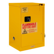 "Durham Mfg Heavy-Duty Steel Flammable Storage Cabinet, FM Approved, 12 Gallon, 1 Door, Self Close, 1 Shelf, Safety Yellow, 23""W x 18""D x 36-3/8""H, Yellow, DM-1012S-50 (1/Ea)"