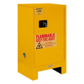"Durham Mfg Heavy-Duty Steel Flammable Storage Cabinet w/ Legs, FM Approved, 16 Gallon, 1 Door, Manual Close, 1 Shelf, Safety Yellow, 23""W x 18""D x 50""H, Yellow, DM-1016ML-50 (1/Ea)"