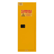 "Durham Mfg Heavy-Duty Steel Flammable Storage Cabinet, FM Approved, 22 Gallon, 1 Door, Manual Close, 2 Shelves, Safety Yellow, 23-5/16""W x 18-1/8""D x 65""H, Yellow, DM-1022M-50 (1/Ea)"