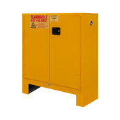 "Durham Mfg Heavy-Duty Steel Flammable Storage Cabinet w/ Legs, FM Approved, 30 Gallon, 2 Door, Manual Close, 2 Shelves, Safety Yellow, 43""W x 18""D x 50""H, DM-1030ML-50 (1/Ea)"