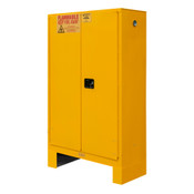 "Durham Mfg Heavy-Duty Steel Flammable Storage Cabinet w/ Legs, FM Approved, 45 Gallon, 2 Door, Manual Close, 2 Shelves, 43""W x 18""D x 71""H, Safety Yellow, DM-1045M-17 (1/Ea)"