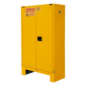 "Durham Mfg Heavy-Duty Steel Flammable Storage Cabinet w/ Legs, FM Approved, 45 Gallon, 2 Door, Self Close, 2 Shelves, 43""W x 18""D x 72-3/8""H, Safety Yellow, DM-1045SL-50 (1/Ea)"