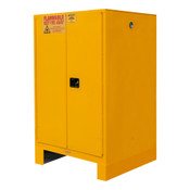 "Durham Mfg Heavy-Duty Steel Flammable Storage Cabinet w/ Legs, FM Approved, 60 Gallon, 2 Door, Manual Close, 2 Shelves, 34""W x 34""D x 71""H, Safety Yellow, DM-1060ML-50 (1/Ea)"
