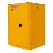 "Durham Mfg Heavy-Duty Steel Flammable Storage Cabinet w/ Legs, FM Approved, 60 Gallon, 2 Door, Self Close, 2 Shelves, 34""W x 34""D x 66-3/8""H, Safety Yellow, DM-1060S-50 (1/Ea)"