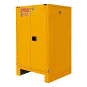 "Durham Mfg Heavy-Duty Steel Flammable Storage Cabinet w/ Legs, FM Approved, 60 Gallon, 2 Door, Self Close, 2 Shelves, 34""W x 34""D x 72-3/8""H, Safety Yellow, DM-1060SL-50 (1/Ea)"