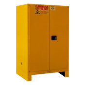 "Durham Mfg Heavy-Duty Steel Flammable Storage Cabinet w/ Legs, FM Approved, 90 Gallon, 2 Door, Manual Close, 2 Shelves, 43""W x 34""D x 71""H, Safety Yellow, DM-1090ML-50 (1/Ea)"