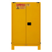 "Durham Mfg Heavy-Duty Steel Flammable Storage Cabinet w/ Legs, FM Approved, 90 Gallon, 2 Door, Self Close, 2 Shelves, 43""W x 34""D x 43 x 34 x 72-3/8""H, Safety Yellow, DM-1090SL-50 (1/Ea)"