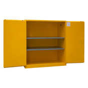 "Durham Mfg Heavy-Duty Steel Flammable Storage Cabinet, FM Approved, 120 Gallon, 2 Door, Manual Close, 2 Shelves, 59""W x 34""D x 65""H, Safety Yellow, DM-1120M-50 (1/Ea)"