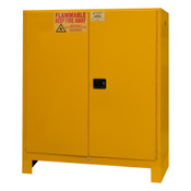 "Durham Mfg Heavy-Duty Steel Flammable Storage Cabinet w/ Legs, FM Approved, 120 Gallon, 2 Door, Manual Close, 2 Shelves, 59-1/16""W x 34""D x 71""H, Safety Yellow, DM-1120ML-50 (1/Ea)"