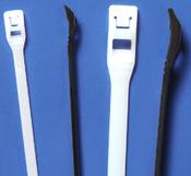 "11.3"" UV Black Nylon Cobra Cable Ties - Low Profile - 50 lb. (100/Bag)"