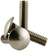 "1/4""-20x1"" Fully Threaded Carriage Bolts Coarse 18-8 Stainless Steel (100/Pkg.)"