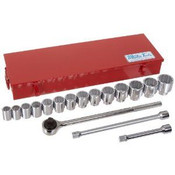 17 Piece Socket Set, 12 Point Standard In Metal Tool Box, Martin Sprocket #H17K
