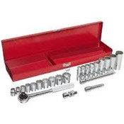 "3/8"" Drive Standard & Deep Chrome Socket Set, 26 Pieces in Metal Toolbox, Martin Sprocket #B26K"