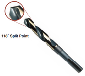 "1-1/8"" Type 130-AGX, Premium 1/2"" Reduced Shank, Silver & Deming, 3-Flats on Shank,, 118 Degree Split Point Drill Bit, Norseman Drill #74331"