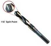 "1-1/4"" Type 130-AGX, Premium 1/2"" Reduced Shank, Silver & Deming, 3-Flats on Shank,, 118 Degree Split Point Drill Bit, Norseman Drill #74361"