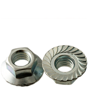 "1/4""-28 Hex Flange Nuts Serrated Fine Case Hardened Zinc Cr+3 (100/Pkg.)"