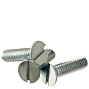 "#10-24x3"" F/T Flat Slotted Machine Screw Flat Head Slotted Zinc Cr+3 (100/Pkg.)"