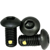 "#6-32x5/8"" (FT) Button Socket Caps Coarse Alloy w/ Nylon-Pellet Thermal Black Oxide (100/Pkg.)"
