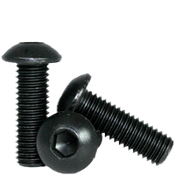 M2.5-0.45x12 MM Fully Threaded Button Socket Caps 12.9 Coarse Alloy ISO 7380 Thermal Black Oxide (100/Pkg.)