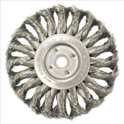"Knot Wire Wheels - Standard Twist for Right Angle Grinders - Stainless Steel - 4"" x 1/2"" x 5/8"" - 11 (M10 x 1.25,M10 x 1.5) - Packaging,  Mercer Abrasives 186520B (10/Pkg.)"