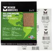 Aluminum Oxide Sandpaper Sheets - 9 x 11 - A-Weight, Grit: 180A, Mercer Abrasives 202180A (100 Sheets/Box)
