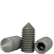 "#10-24x3/8"" Standard Socket Set Screws Cone Point Coarse Alloy Thermal Black Oxide (100/Pkg.)"
