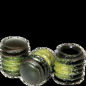 "1/4""-28x3/8"" Socket Set Screws Oval Point Fine Alloy w/ Nylon-Patch Thermal Black Oxide (100/Pkg.)"