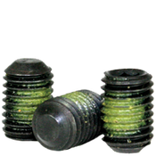"#10-32x3/16"" Socket Set Screws Flat Point Fine Alloy w/ Nylon-Patch Thermal Black Oxide (100/Pkg.)"