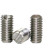 "1/4""-28x1/2"" Slotted Set Screw Cup Point Fine 18-8 Stainless (100/Pkg.)"