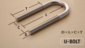 "1/2-13 X 3 1/2"" Chicago U-Bolt Zinc Plated"