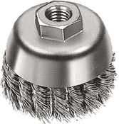 "Knot Cup Brushes for Right Angle Grinders - Carbon Steel - 2-3/4"" x 5/8""-11 (M10 x 1.25, M10 x 1.5), Mercer Abrasives 189010 (6/Bulk Pkg.)"