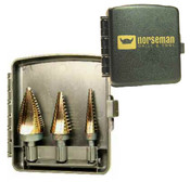 3 Piece TiN Coated Type 78-AGN 3-Flatted Shank Step Drill Set - Blister Pak - 1/8 - 1/2, 3/16 - 1/2, & 1/4 - 3/4 ( #1, #4,#8 ), Norseman Drill #NDT-01811