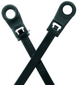 "8"" #10 UV Black Mounting Hole Cable Ties 50 lb. (100/Bag)"
