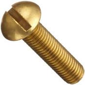 """1/4""""-20x2"""" Round Slotted Machine Screw Brass (100/Pkg.)"""