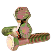 "7/8""-9x2-1/2"" (FT) Hex Cap Screws Grade 5 Coarse Med. Carbon Zinc Yellow CR+6 (65/Bulk Pkg.)"