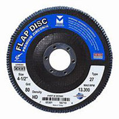 "Type 27 High Density Zirconia Flap Discs - 4-1/2"" x 7/8"", Grit: 80, Mercer Abrasives 262080 (10/Pkg.)"