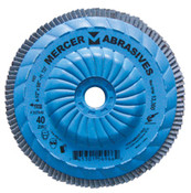 "Type 27 High Density Trimmable Zirconia Flap Discs - 4-1/2"" x 5/8"" - 11, Grit: 36, Mercer Abrasives 262T03 (10/Pkg.)"