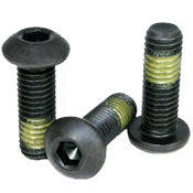 "#8-32x1/2"" (FT) Button Socket Caps Coarse Alloy w/ Nylon-Patch Thermal Black Oxide (1,000/Bulk Pkg.)"