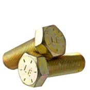 "3/8""-24x1-3/8"" Fully Threaded Hex Cap Screws Grade 8 Fine Zinc-Yellow Bake CR+3 (USA) (675/Bulk Pkg.)"