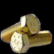 "3/8""-16x1/2"" Fully Threaded Hex Cap Screws Grade 8 Coarse Zinc-Yellow Bake CR+3 (USA) (1,300/Bulk Pkg.)"