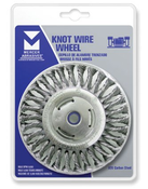 "Stringer Bead Wire Wheels for Right Angle Grinders - Stainless Steel - 4"" x 3/16"" x 5/8"" -11 (M10 x 1.25, M10 x 1.5), Mercer Abrasives 186020 (6/Bulk Pkg.)"