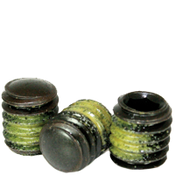"#8-32x3/16"" Socket Set Screws Oval Point Coarse Alloy w/ Nylon-Patch Thermal Black Ox (1,000/Bulk Pkg.)"