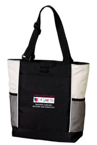 Port Authority® Panel Tote (Black/Stone)