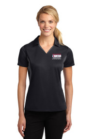 Sport-Tek® Ladies Side Blocked Micropique Sport-Wick® Polo (Black/Grey)