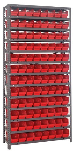 Steel Shelving with 96 Shelf Bins - 12 x 4 x 4 - Red