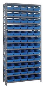Steel Shelving with 60 Shelf Bins - 12 x 7 x 4 (V1275-102) - Blue