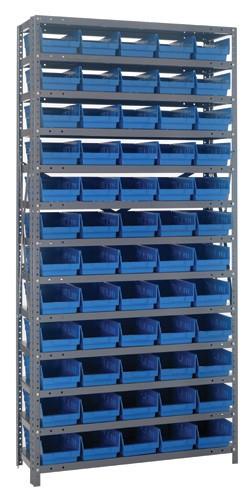 Steel Shelving with 60 Shelf Bins - 12 x 7 x 4 (V1275-102) - Blue