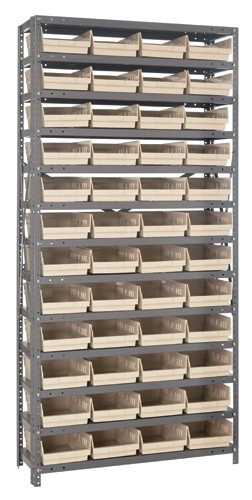 Steel Shelving with 48 Shelf Bins - 12 x 8 x 4 (V1275-107)  - Ivory