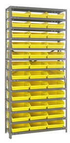 Steel Shelving with 36 Shelf Bins - 12 x 11 x 4 (V1275-109)  - Yellow